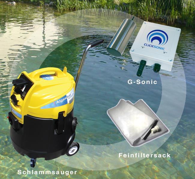 Das Algenfrei Paket für klares Wasser: G-Sonic + Schlammsauger + Wasserrückführung