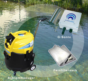 Algae-free package: G-Sonic + pond mud sucker + filtered water repatriation